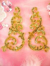Sequin Appliques Gold w/ Beaded edge Dance Costume Motif Mirror Pair (0514)