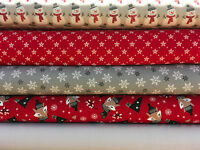 Fat Quarters Fabric Bundle Festive Christmas Reindeer Stripes Red Green Gold F36