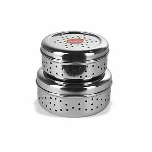 Stainless Steel Hole Puri Dabbas/Flat Canisters with Air Ventilation Set of 2