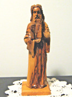 "Vintage Hand Carved Wooden Moses Statue 10"" H Missing Serpent Staff"