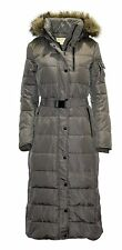 MICHAEL  Kors women's down Belted Maxi long Puffer Coat flannel jacket LARGE