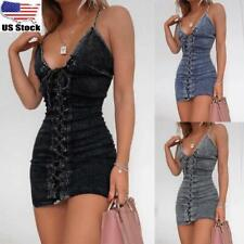 Women Ladies Strappy Sexy Lace Up Bodycon Dress Party Clubwear Mini Denim Dress