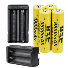 Rechargeable 18650 Battery Cell 3.7V Li-Ion with Charger for LED Flashlight