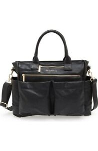 $170 THE HONEST COMPANY Black Faux Leather Everything' Diaper Bag