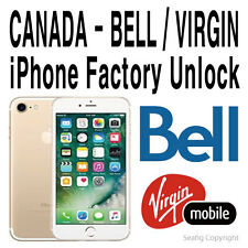 CANADA Bell Virgin Factory Unlock Service iPhone 7 7+ 6S 6S+ 6 6+ 5S 5C 5 Clean