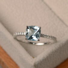 14K White Gold 1.55 Carat Cushion Natural Diamond Aquamarine Ring In All Sizes /