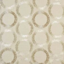 Casamance Linen Circle Embroidery Upholstery Fabric- Ulysse/Bright Milk 4.30 yd