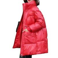 Damen Down Cotton Lange Jacke Glänzend Stehkragen Gesteppte Warm Mode Outwear L