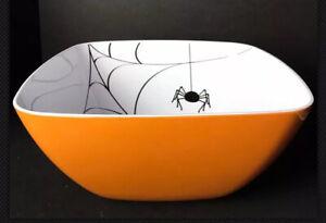 Halloween New OrangePlastic Melamine XL Candy Serving Bowl Pumpkin Spider Web