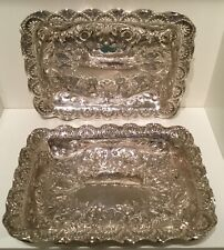 Nice Pair (2) Antique Silver Plate EPNS Repousse Trays or Dishes