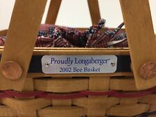2002 PROUDLY LONGABERGER BEE BASKET WITH LINER AND PROTECTOR COMBO