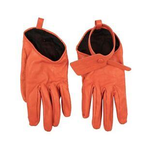 NWT OFF WHITE c/o VIRGIL ABLOH Orange Leather Zip Tie Gloves Size 7.5 $530