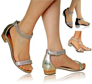 Womens Ladies Party Diamante Wide Feet Low Flat Heels Shoes Sandals Size-1019