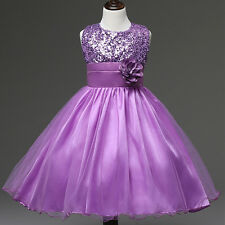 Wedding Flower Girls Sequined Dress Kids Tutu Skirtformal Dress up 12 Purple