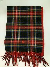 Polo Ralph Lauren Vintage Pony Plain Red/Blue 100% Lambswool winter scarf