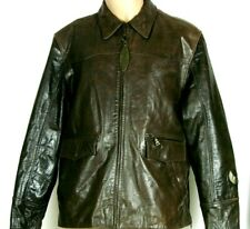 New listing Vtg Flying Bikes Oakwood Motorcycle Mens Leather Jacket Xl Brown Zip Side Sleeve