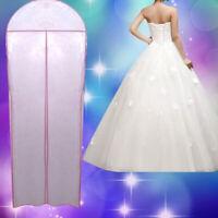 KM_ Wedding Dress Bridal Gown Garment Dustproof Breathable Cover Storage Bag Gra