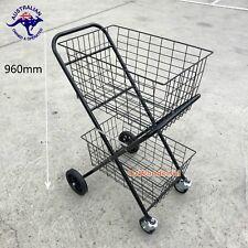 Shopping Trolley Double Basket W/ Swivel Wheel Collapsible Shop Cart 2 Tier