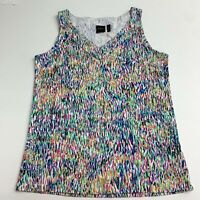 Rafaella Cami Tank Top Women's L Multicolor Knit V-Neck Sleeveless Casual Cotton