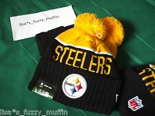 Pittsburgh Steelers New Era knit pom hat beanie NEW Tags On Field AUTHENTIC 2015