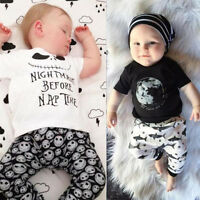 2PCS Infant Toddler Baby Boy Girls Outfits Clothes Cotton T-shirt Tops+Pants Set