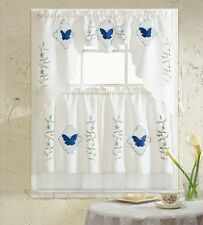 BH Home Blue Butterfly Embroidered 3-Piece Kitchen Curtain Window Treatment Set