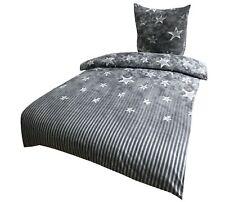 4 tlg Winter Flausch Bettwäsche 135x200 cm grau weiß Sterne kuschel Fleece warm