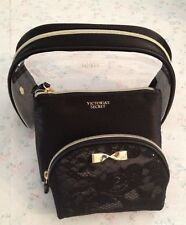 Victoria's Secret Cosmetic Trio Bag Set Black Lace Gold Bow Latest Model'16 SALE