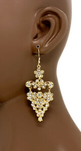 """3.25"""" Long Gold Tone Filigree Vine Earrings, Clear Crystals, Casual Chic, Party"""