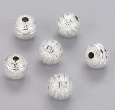 20 FANCY METAL STARDUST BEADS SILVER PLATED 8mm