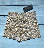Motel Rocks Vintage Yellow Brown 70s Floral Custom Made Dixie Shorts S - B26
