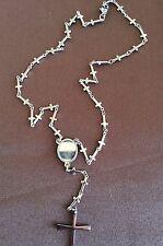 Collana tipo corona Rosario per uomo in acciaio con tante croci piccole