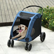 PawHut Dog Stroller W/ Mesh Windows 4 Wheels for Medium Large Dogs Cushion Blue