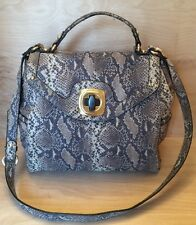 B Makowsky Satchel Handbag Genuine Leather Color Gray/gold  (Snake )Size MD