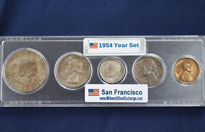 1954-S United States Silver Mint Set Original Toned Uncirculated Set of 5 E2618