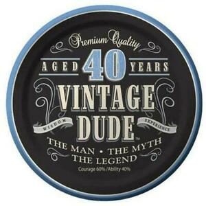 New 40 Vintage Dude Male Birthday Party Paper Plates & Napkins Party Decorations