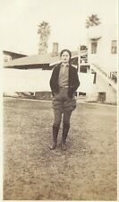Vintage Old 1920's Photo of Pretty Woman in Early Pants Outdoor Fashion Boots