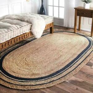 Rug 100% Jute Vintage Oval Oriental Handmade Reversible Floor Area carpet Rug