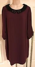 Lauren Conrad black cherry red dress pearl collar bow sleeve L