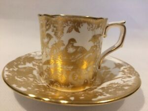 Royal Crown Derby Gold Aves Demitasse Cup And Saucer