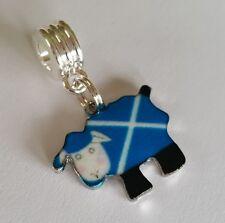 Scottish Flag Sheep Charm on Silver Plated Charm Dangle