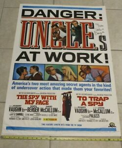 Signed TO TRAP A SPY/Spy WITH MY FACE MAN FROM UNCLE ORIGINAL ONE SHEET Vaughn