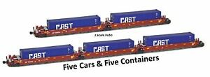 AZL 906510 Z Maxi-I SP Articulated Doublestack 5-Car Set 513511w/CAST Containers