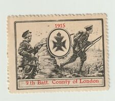 Uk- 9th Batt. County of London- poster stamp Gum but some rust spots
