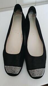 Mania Ballerina Damen Gr.40 schwarz Leder Neuw.! Swarovski NP 200,00 Italy