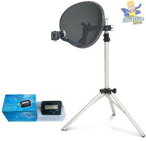 60cm Dish 2 way LNB to FIT Sky Q & tripod + Satellite Finder portable camping