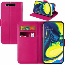 For Samsung Galaxy A80 Leather Wallet Flip Book Case Cover Pouch Pocket Pink
