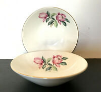 "Vtg Set of 2 HOMER LAUGHLIN Rhythm 5"" Fruit Dessert Sauce Bowl Pink Magnolia"