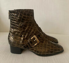 Jimmy Choo Bronze Leather Ankle Boots Size 37 USED Gently Worn