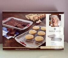 Paula Deen New in Box 3 Piece Bakeware Set Cookie and Cake Pan with Cooling Rack